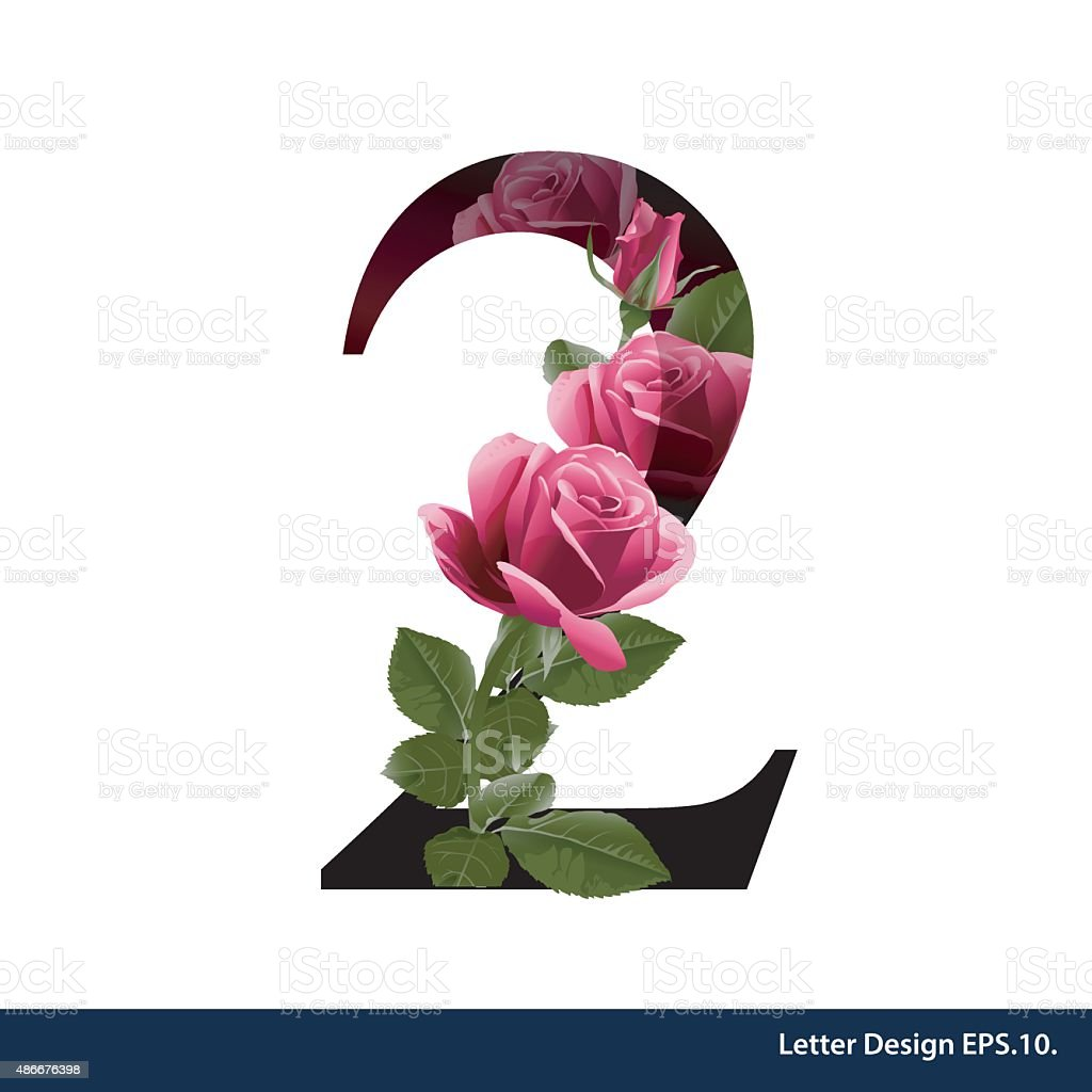 Alphabet number two with flower. Vector illustration. vector art illustration