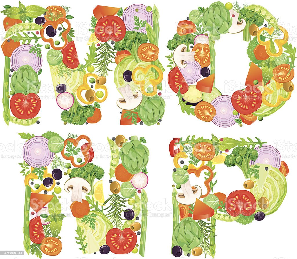 Alphabet of vegetables MNOP vector art illustration