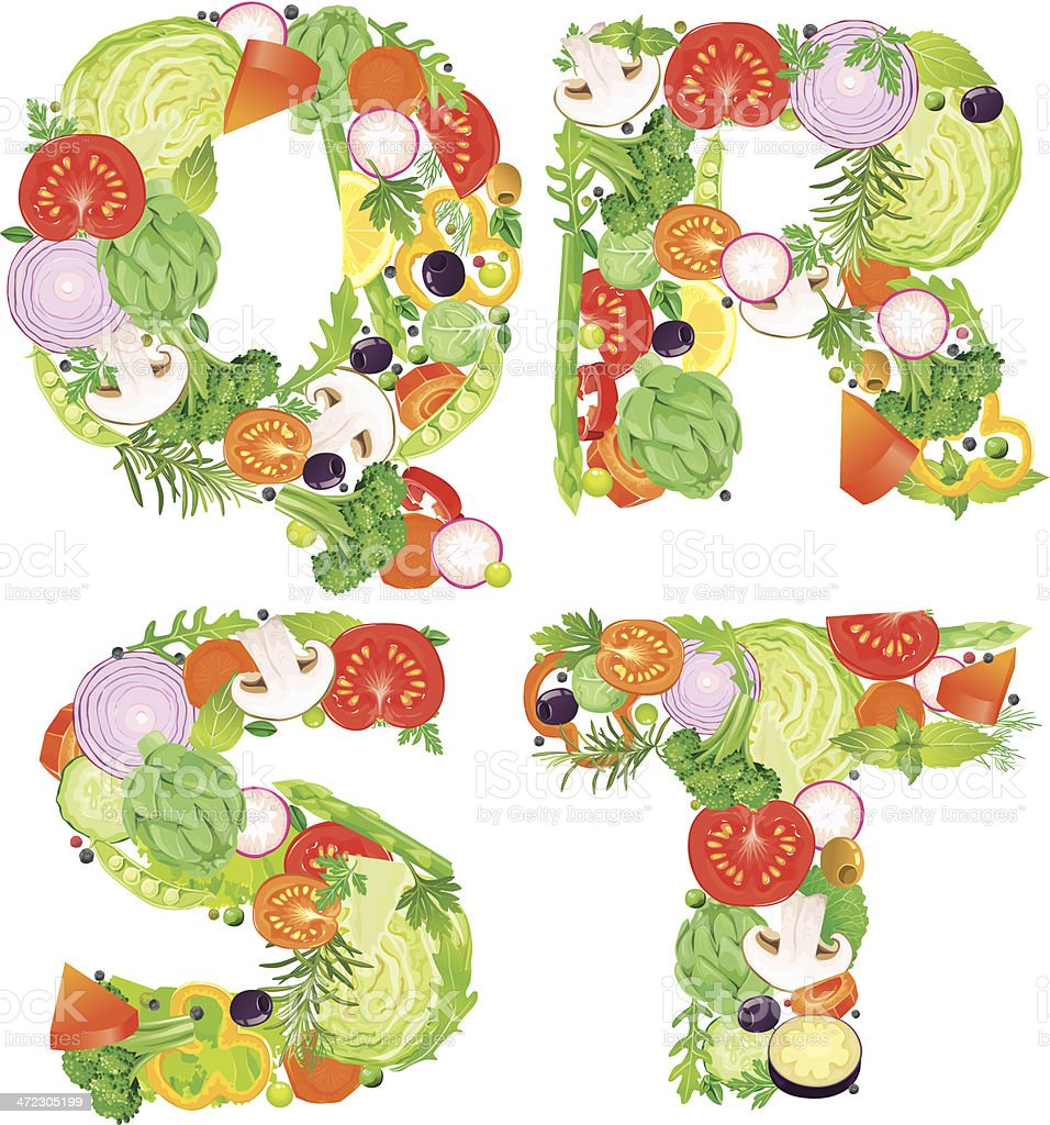 Alphabet of vegetables QRST. Contains transparent objects. EPS10. royalty-free stock vector art