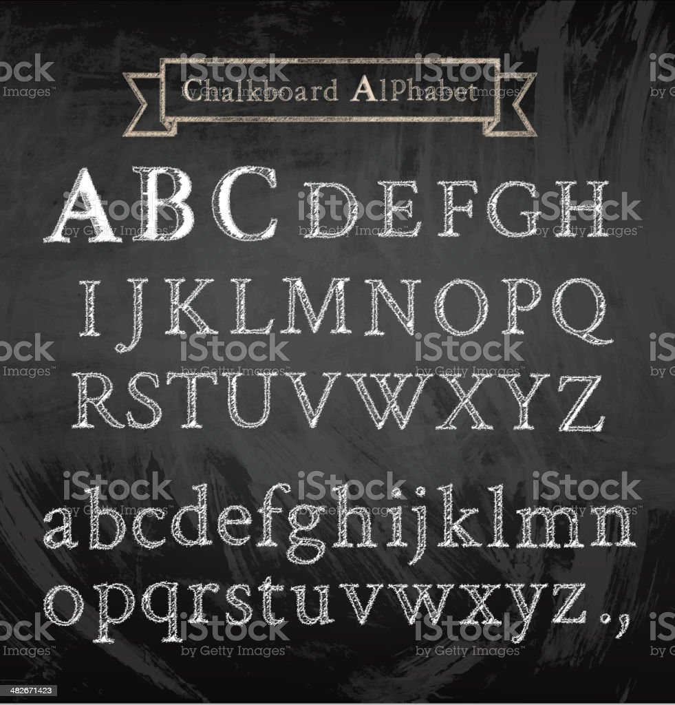 Alphabet on chalkboard royalty-free stock vector art