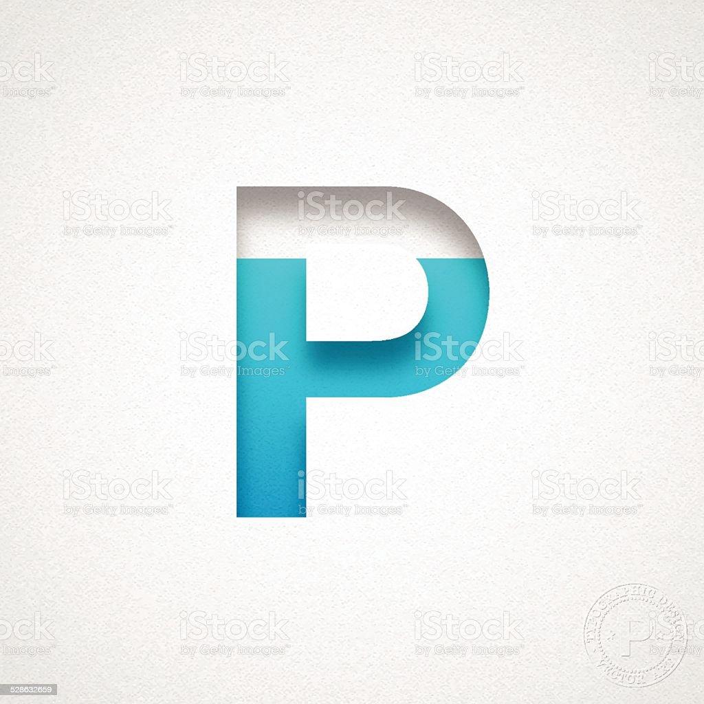 Alphabet P Design - Blue Letter on Watercolor Paper vector art illustration