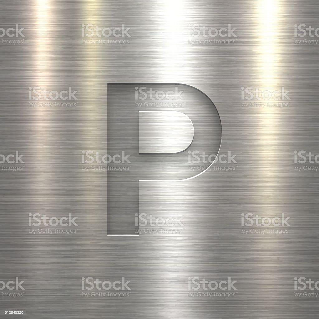 Alphabet P Design - Letter on Metal Texture Background vector art illustration