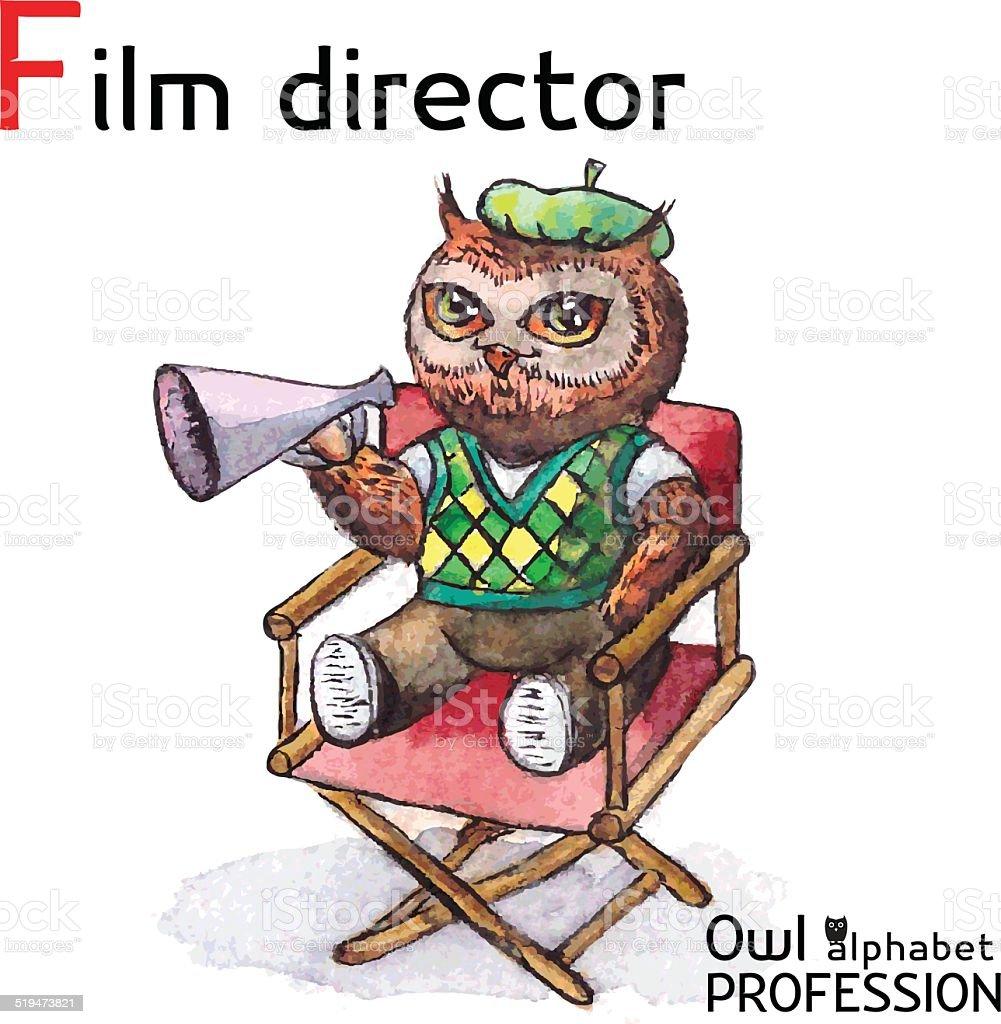 Alphabet professions Owl - Film Director character Vector Watercolor. vector art illustration