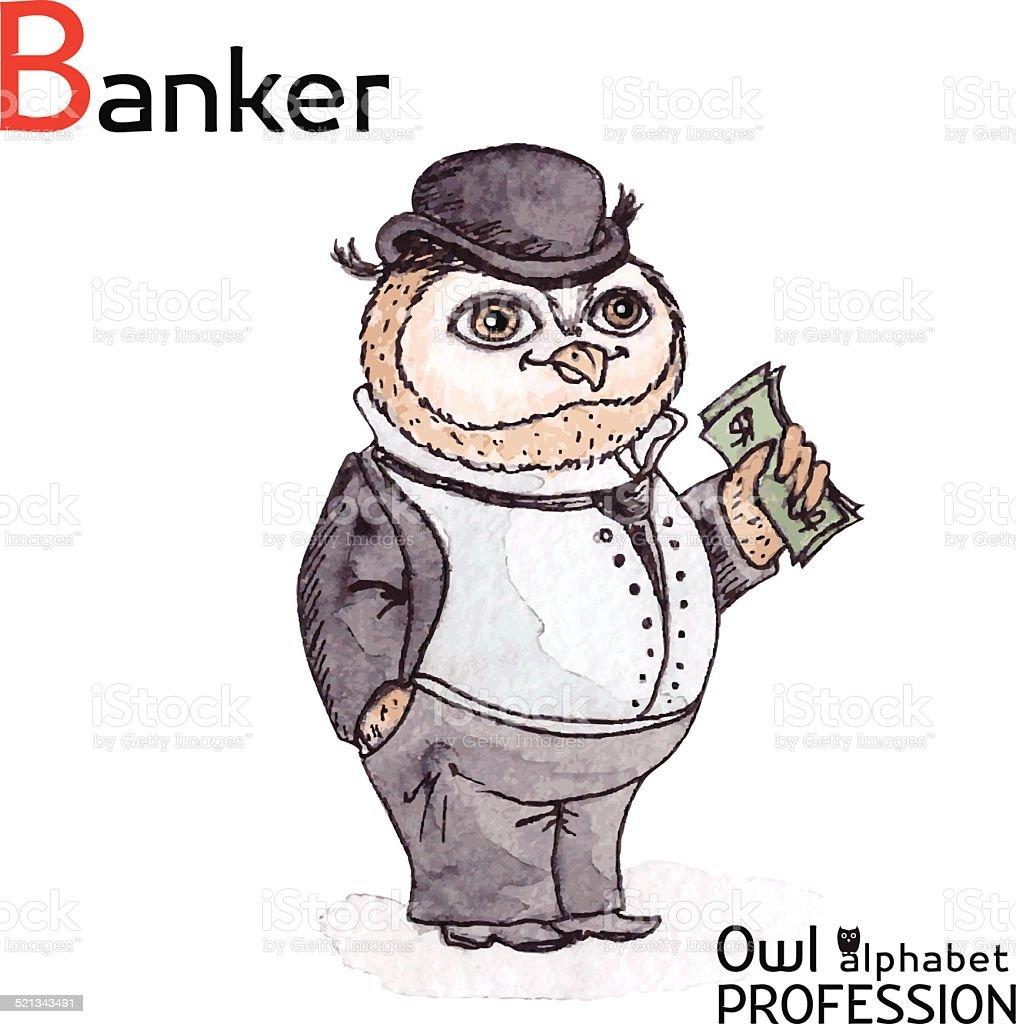 Alphabet professions Owl Letter B - Banker Vector Watercolor. vector art illustration