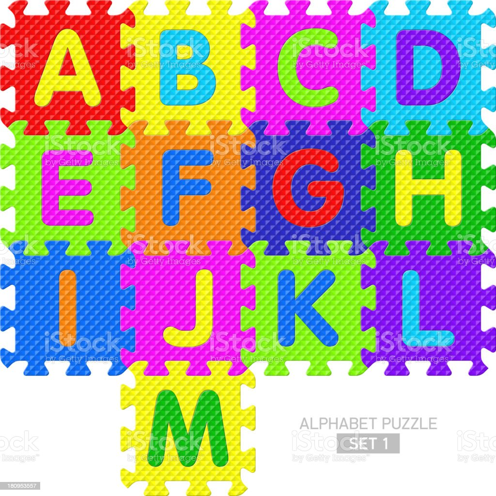 Alphabet puzzle royalty-free stock vector art