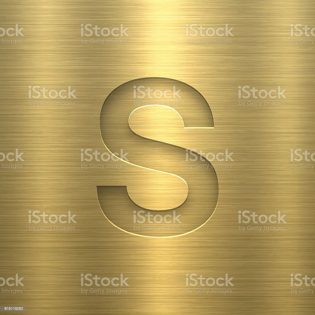 Alphabet S Design - Letter on Gold Metal Texture vector art illustration