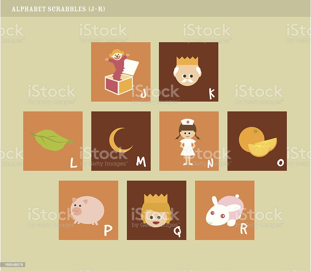 Alphabet scrabbles J-R royalty-free stock vector art