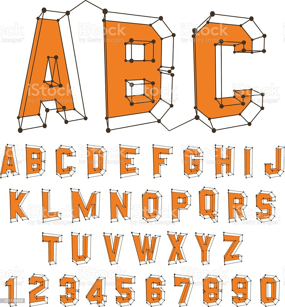 Alphabet set. 3d vector illustration. Design elements. vector art illustration