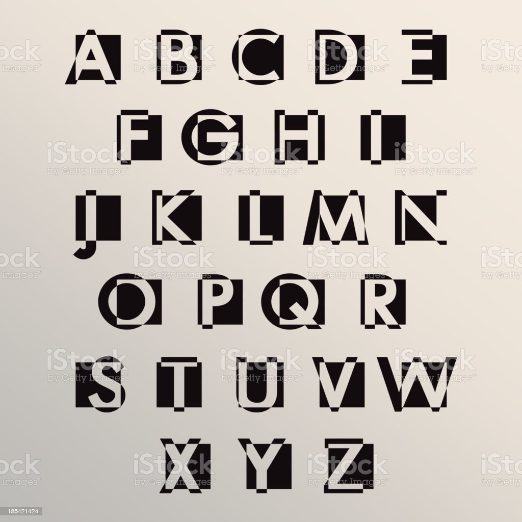 Alphabet set modern style royalty-free stock vector art