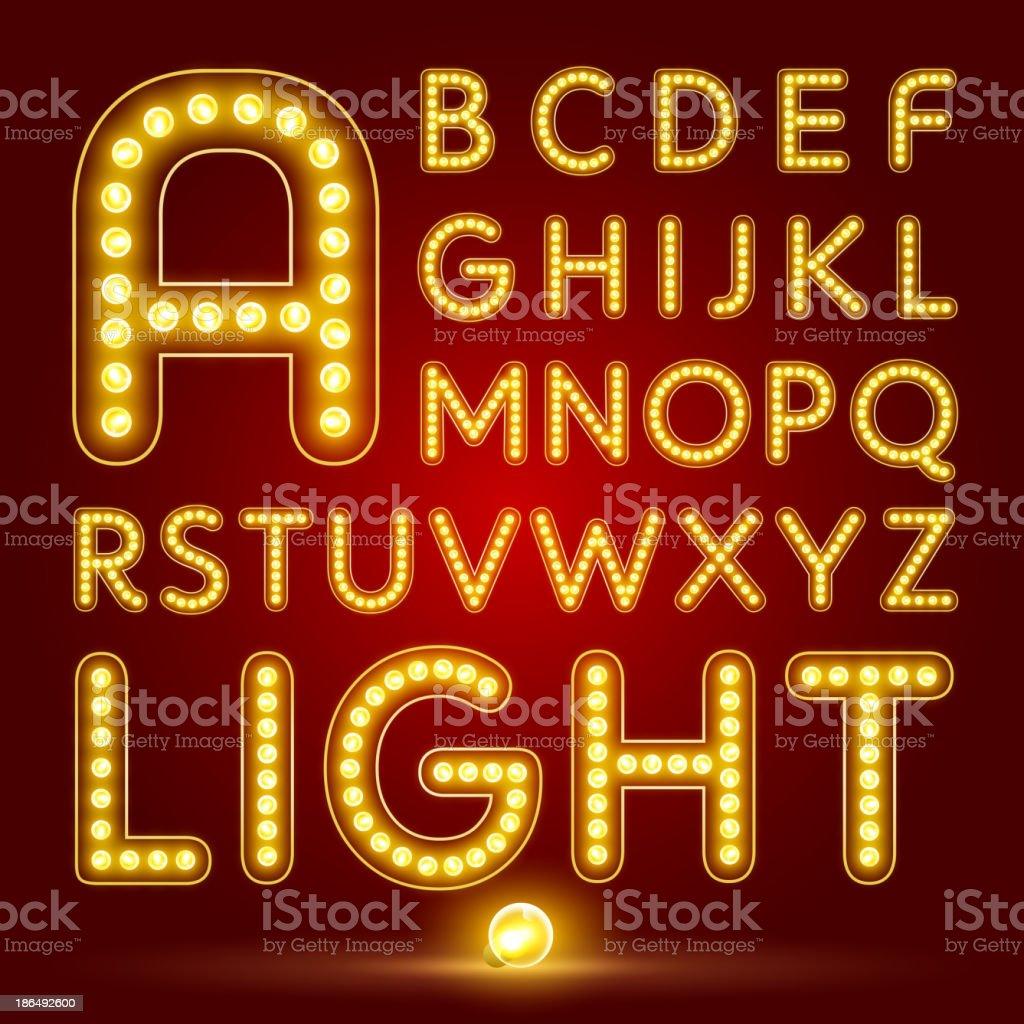 Alphabet set with realistic lamp vector art illustration