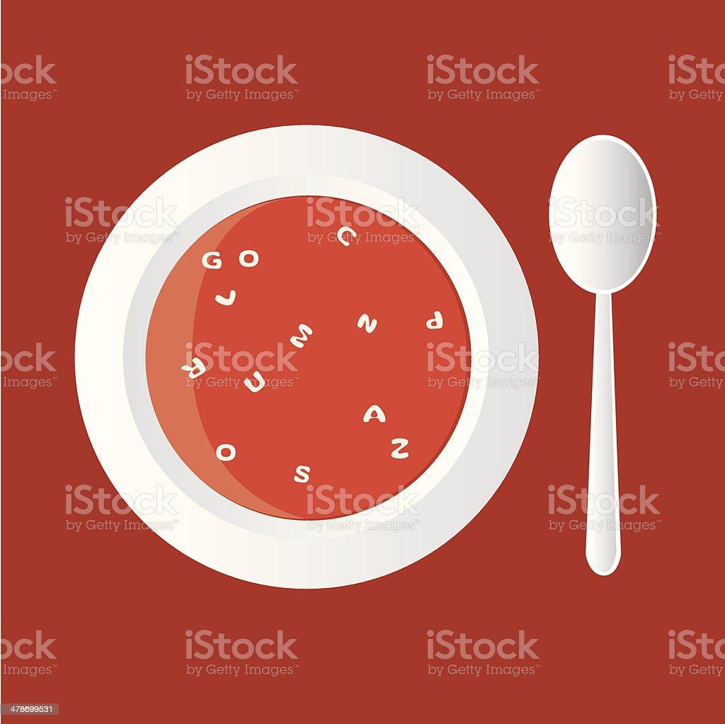 alphabet soup vector art illustration