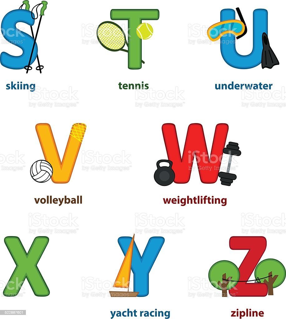 alphabet sport from S to Z vector art illustration