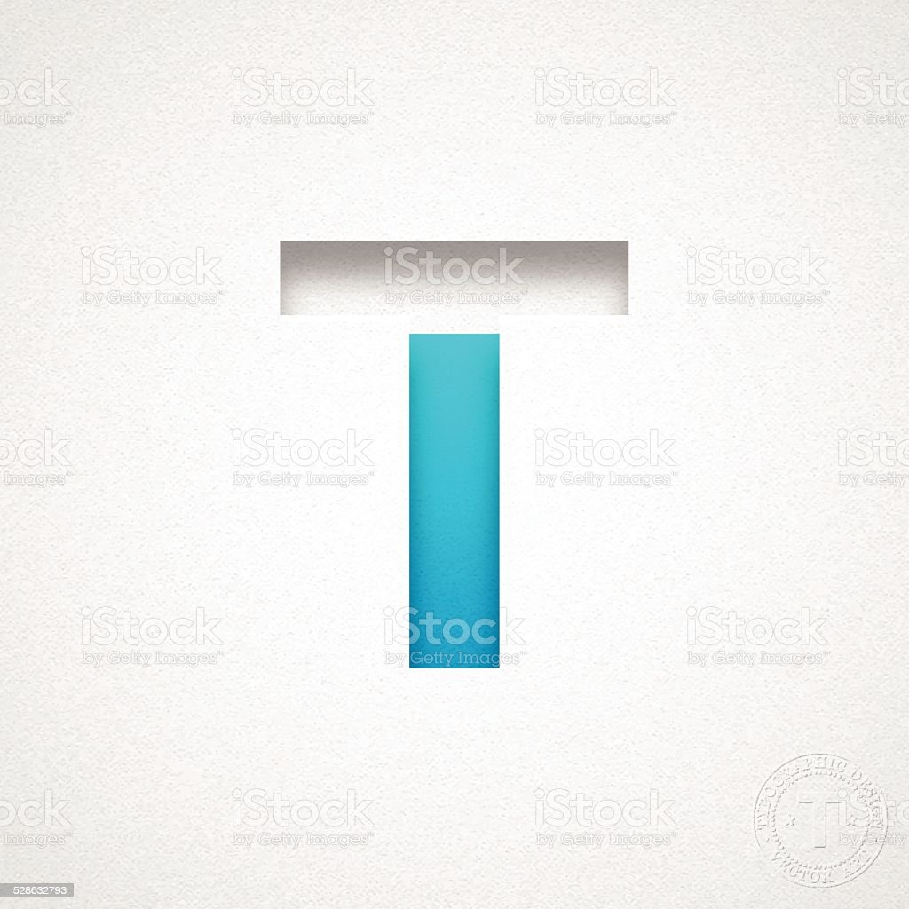 Alphabet T Design - Blue Letter on Watercolor Paper vector art illustration