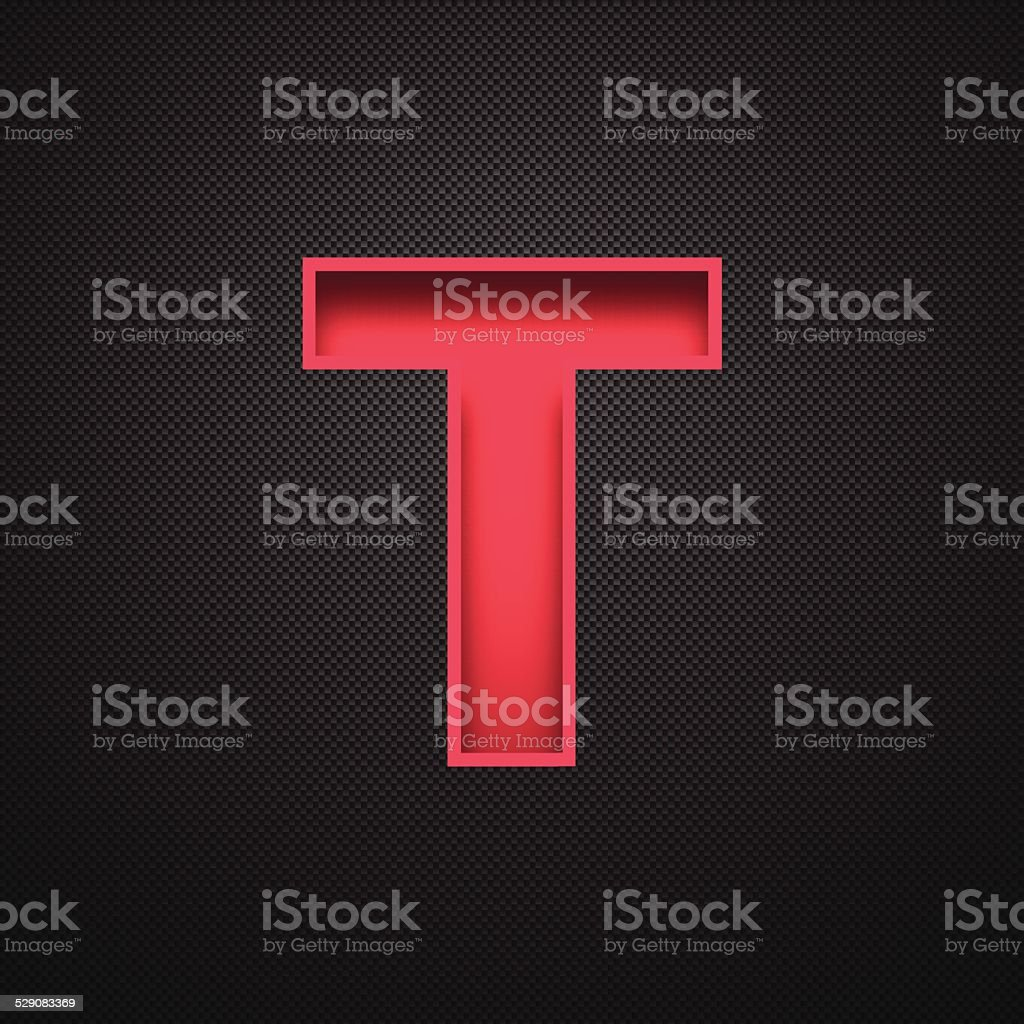 Alphabet T Design - Red Letter on Carbon Fiber Background vector art illustration