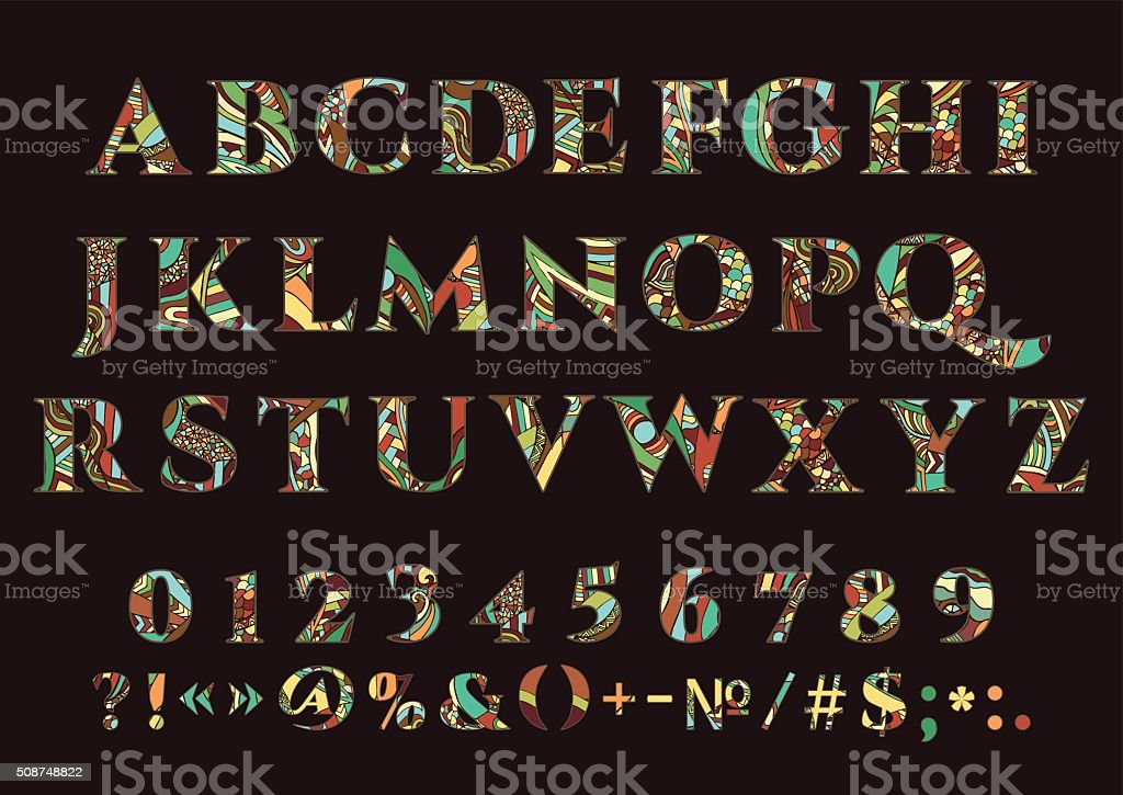 Alphabet, vector set of letters royalty-free stock vector art