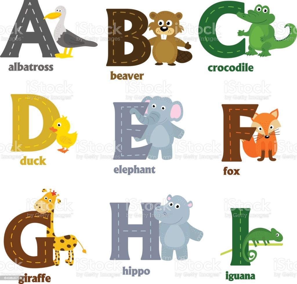 alphabet with animals A to I vector art illustration