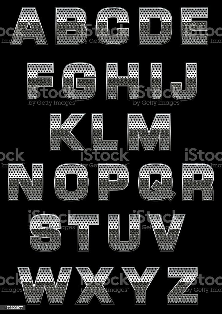 Alphabet with perforation vector art illustration