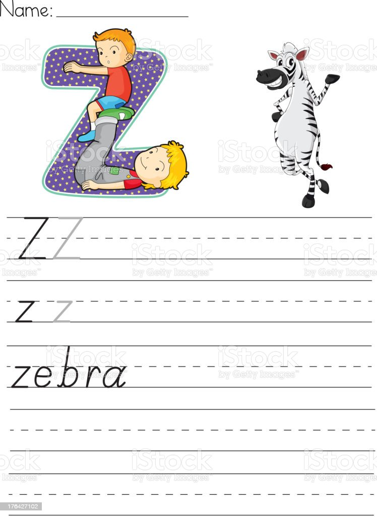 Alphabet worksheet vector art illustration