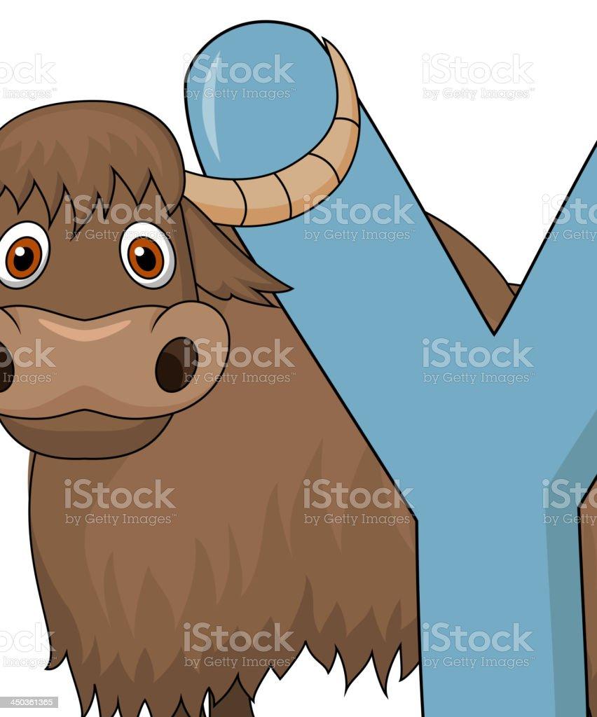 Alphabet Y with yak cartoon royalty-free stock vector art