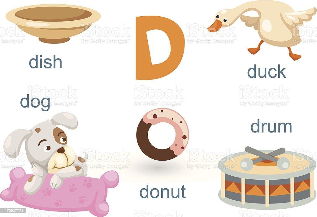 Alphabet.D letter.dog,donut,dish,drum,duck. royalty-free stock vector art