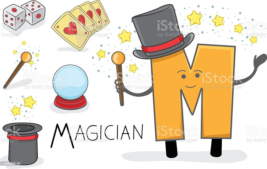 Alphabeth occupation - Letter M - Magician vector art illustration