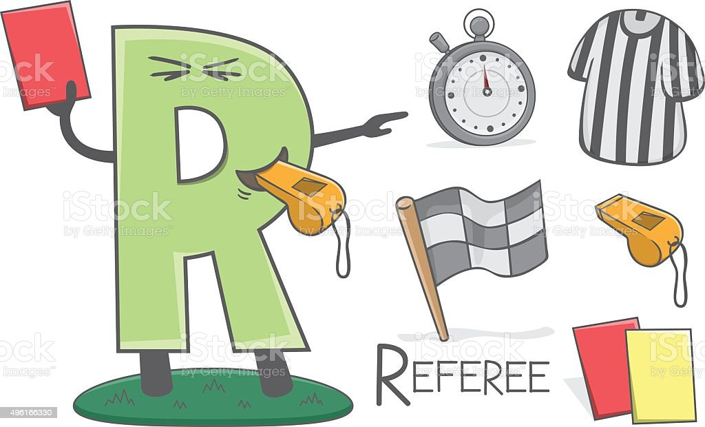 Alphabeth occupation - Letter R - Referee vector art illustration