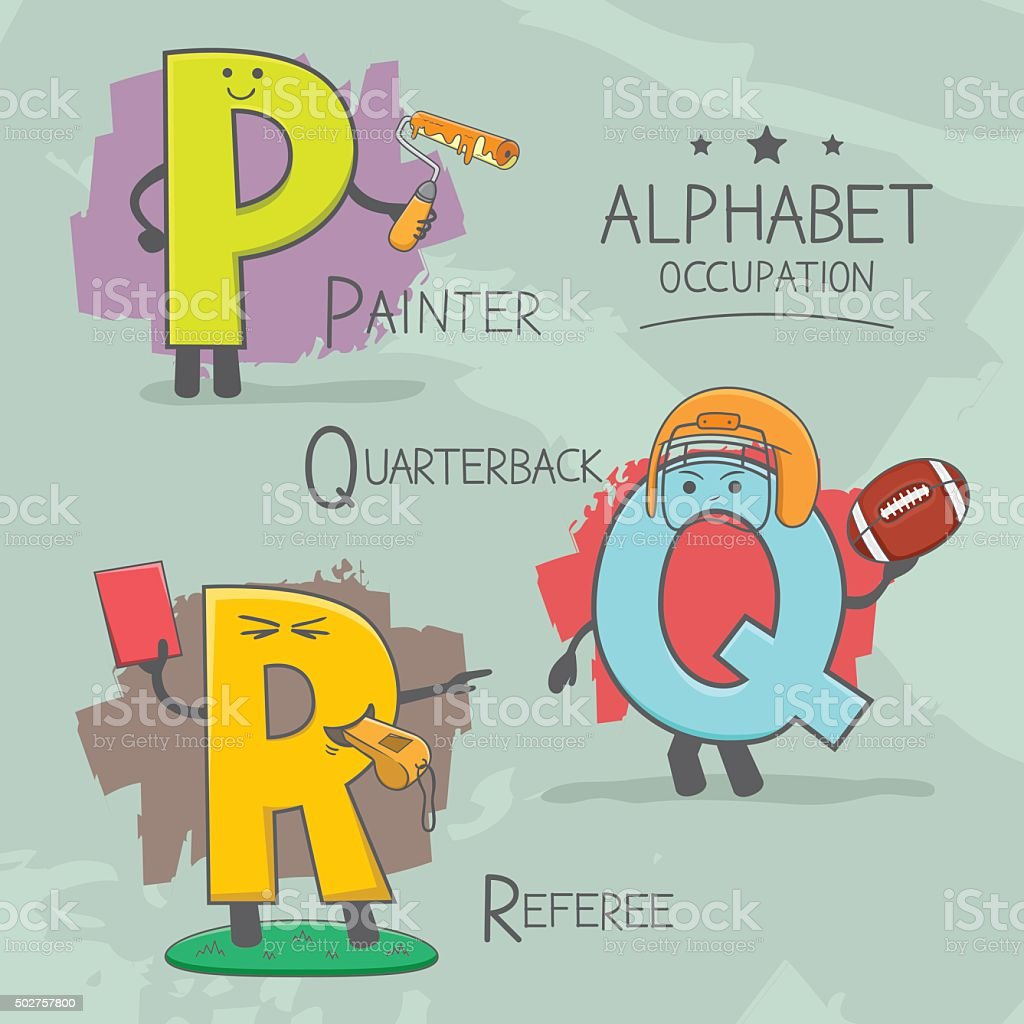 Alphabeth occupation vector art illustration
