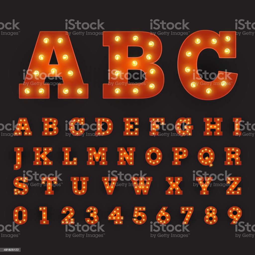 Alphabetic font carnival style with large round bulbs vector art illustration