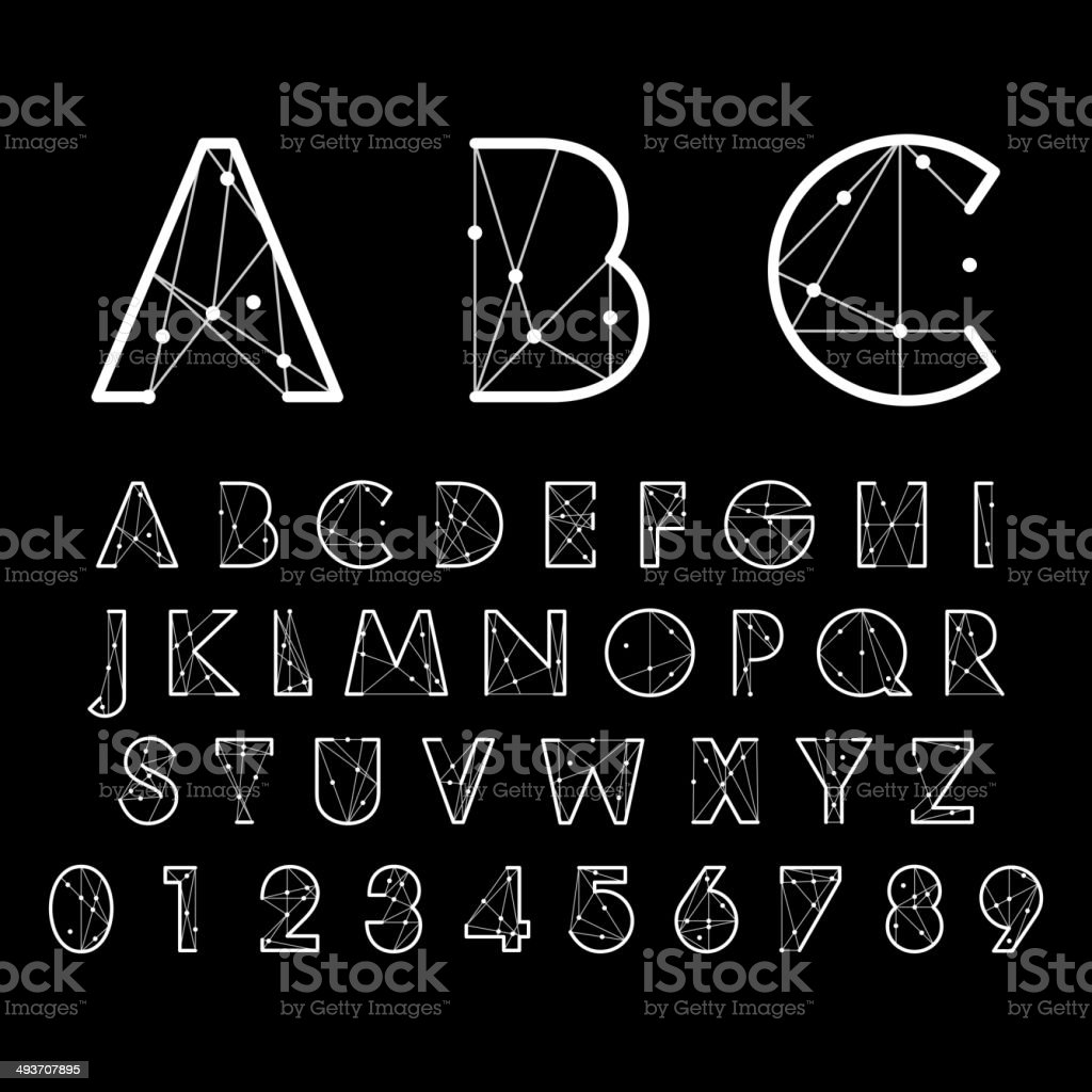 alphabetic fonts and numbers vector art illustration