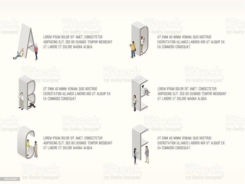 Alphabetical List Slide Template royalty-free stock vector art
