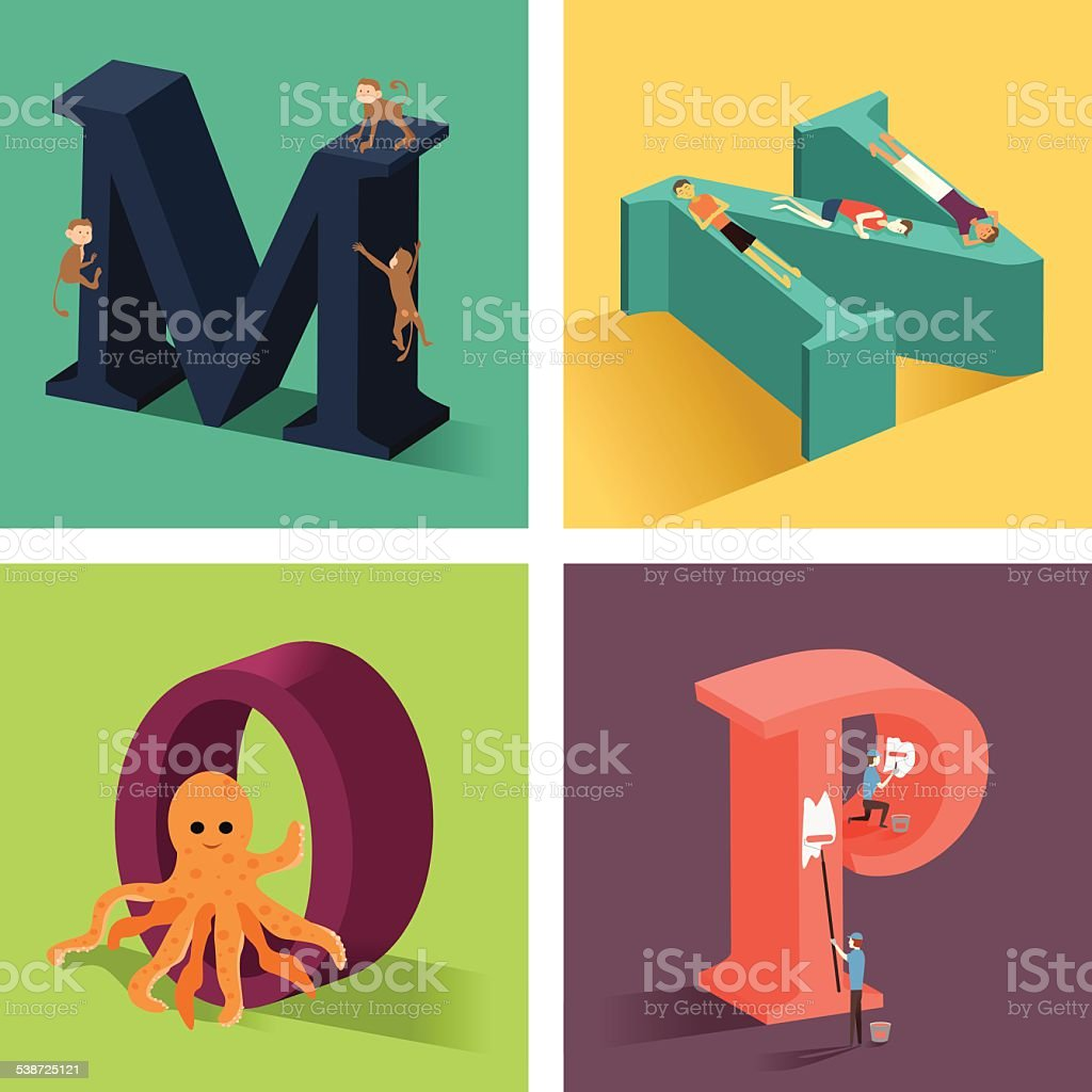 Alphabets concept in 3D vector art illustration