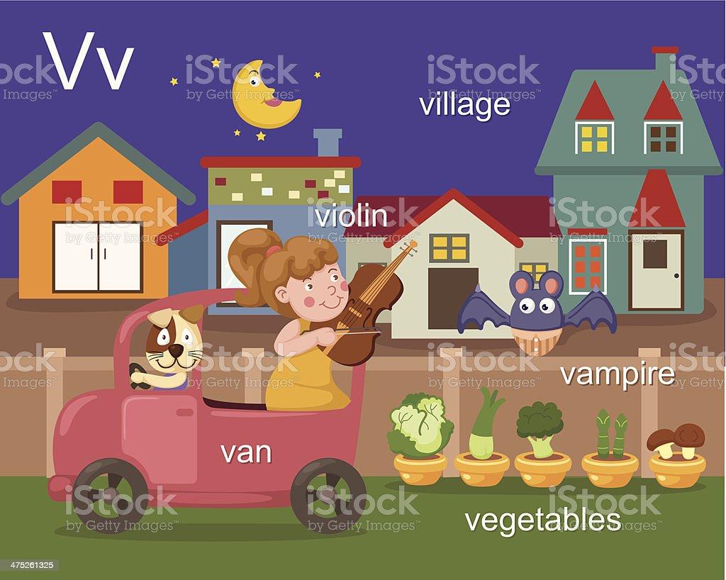 Alphabet.V letter.van,violin,village,vampire,vegetables royalty-free stock vector art