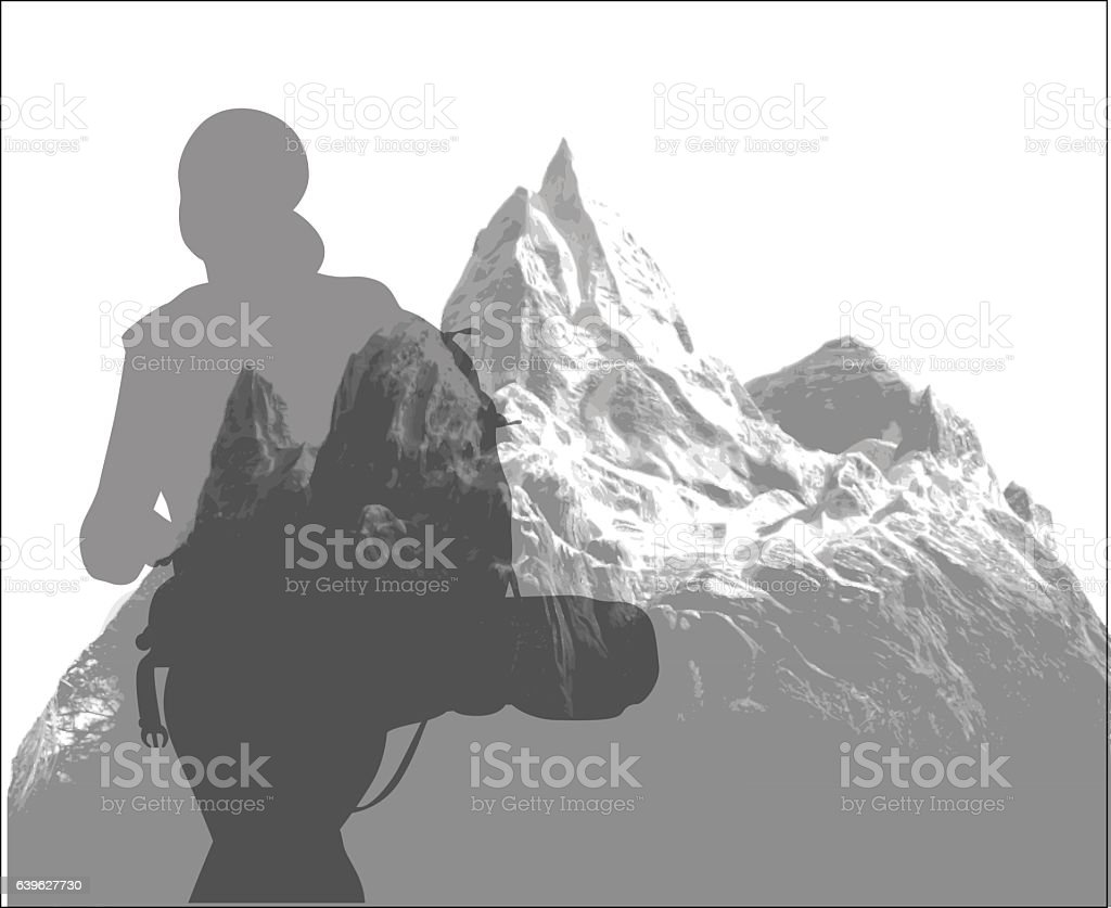 Alpine Hiking Silhouette vector art illustration
