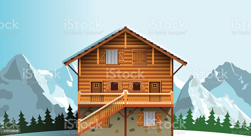 alpine hut vector art illustration