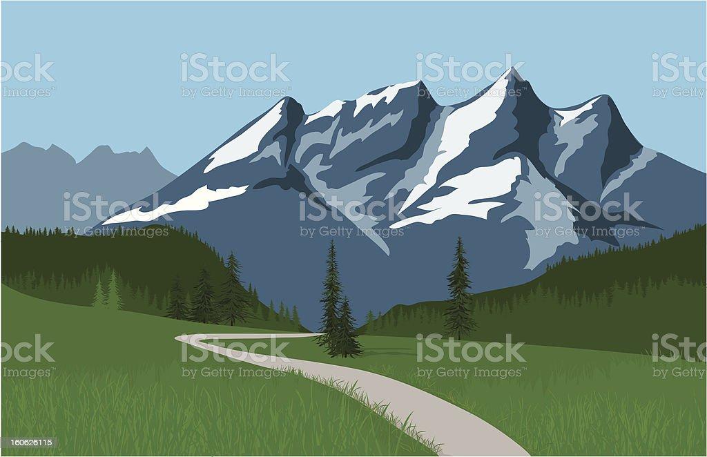 Alpine Mountain Meadow vector art illustration