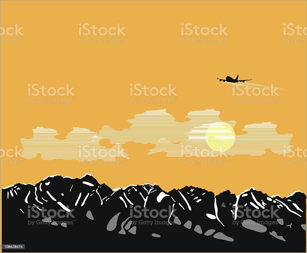 Alpine vista vector art illustration