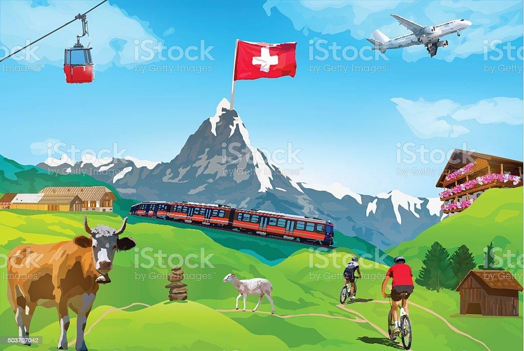 Alps Matterhorn card vector art illustration