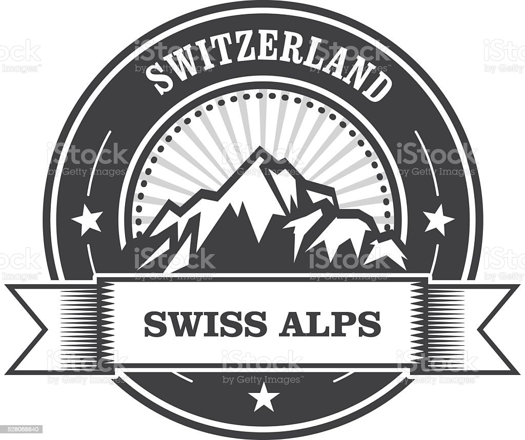 Alps Mountains stamp - Switzerland label with ribbon vector art illustration