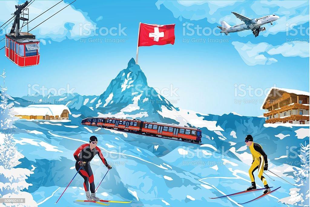 Alps winter mountain welcome card vector art illustration