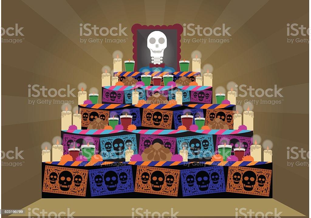 Altar de muertos vector art illustration