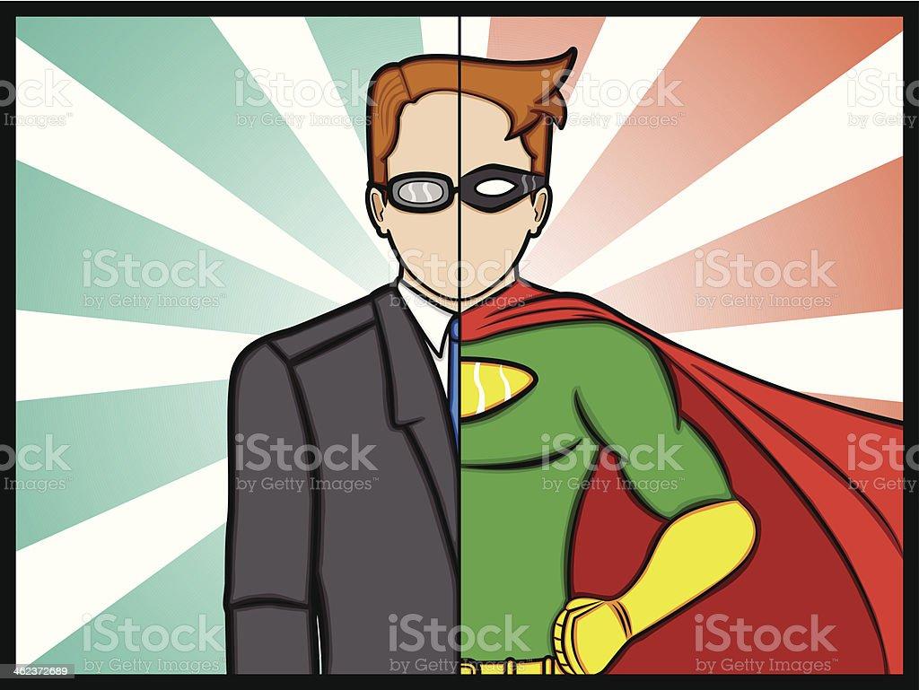 Alter Ego Super Hero vector art illustration