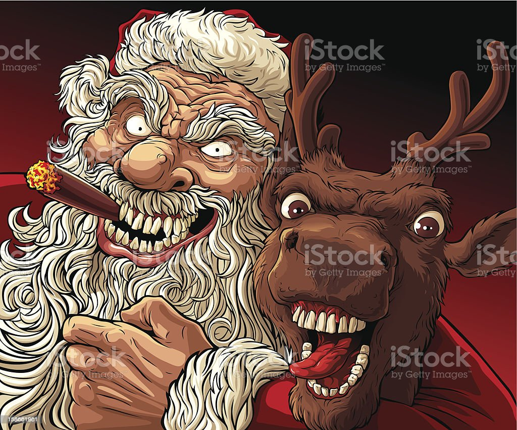 Alternative Christmas: Drunk Santa and Deer vector art illustration