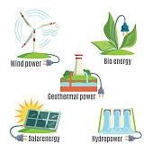 Alternative Eenergy Source Set Vector Illustration