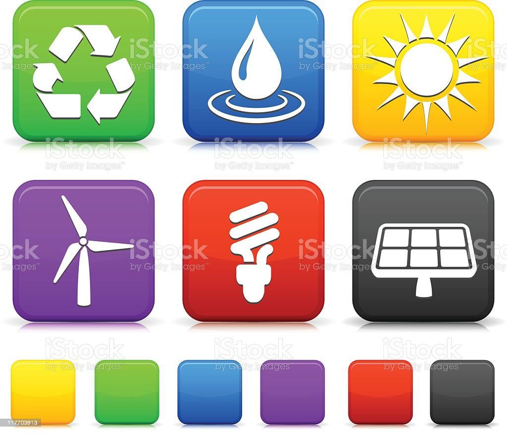 Alternative energy button set royalty-free stock vector art