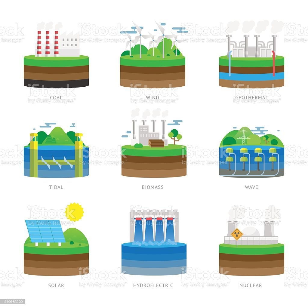 Alternative energy source electricity power resource eco set vector illustration vector art illustration