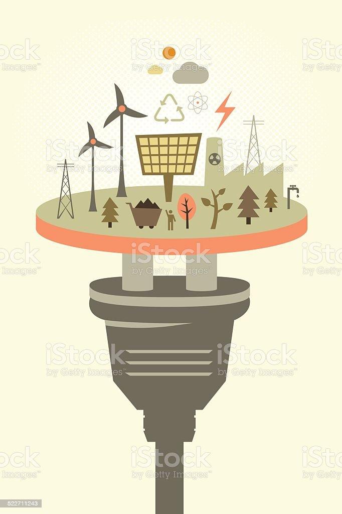 Alternative energy vector art illustration