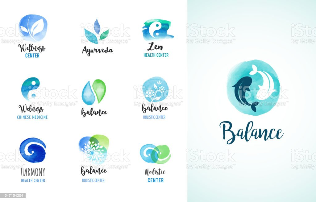 Alternative medicine and wellness, yoga concept - vector watercolor icons vector art illustration