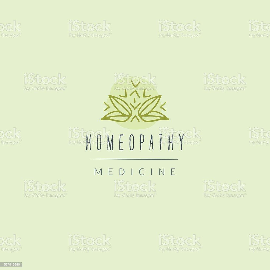 Alternative medicine badge. vector art illustration