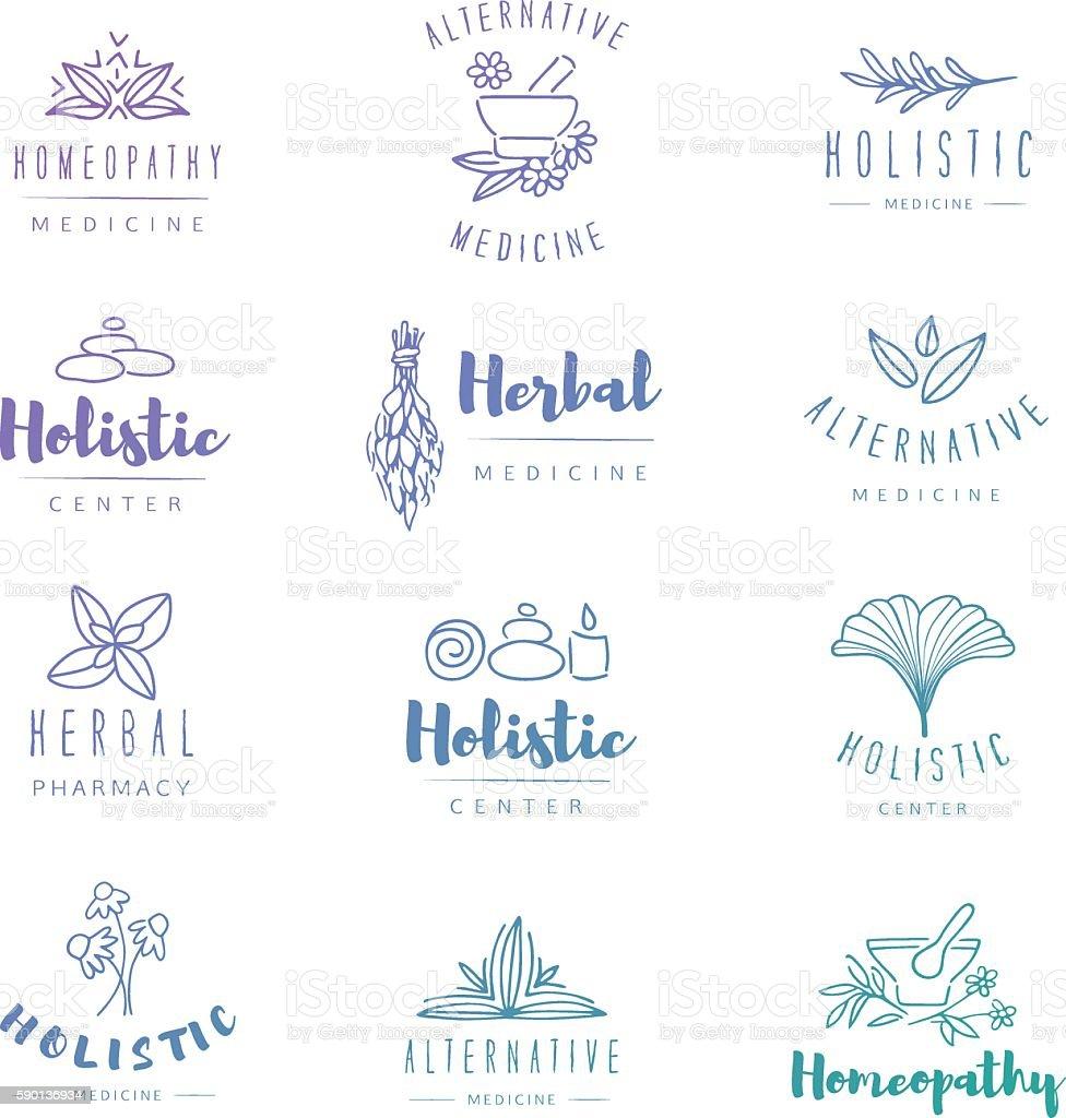 Alternative medicine badges. vector art illustration