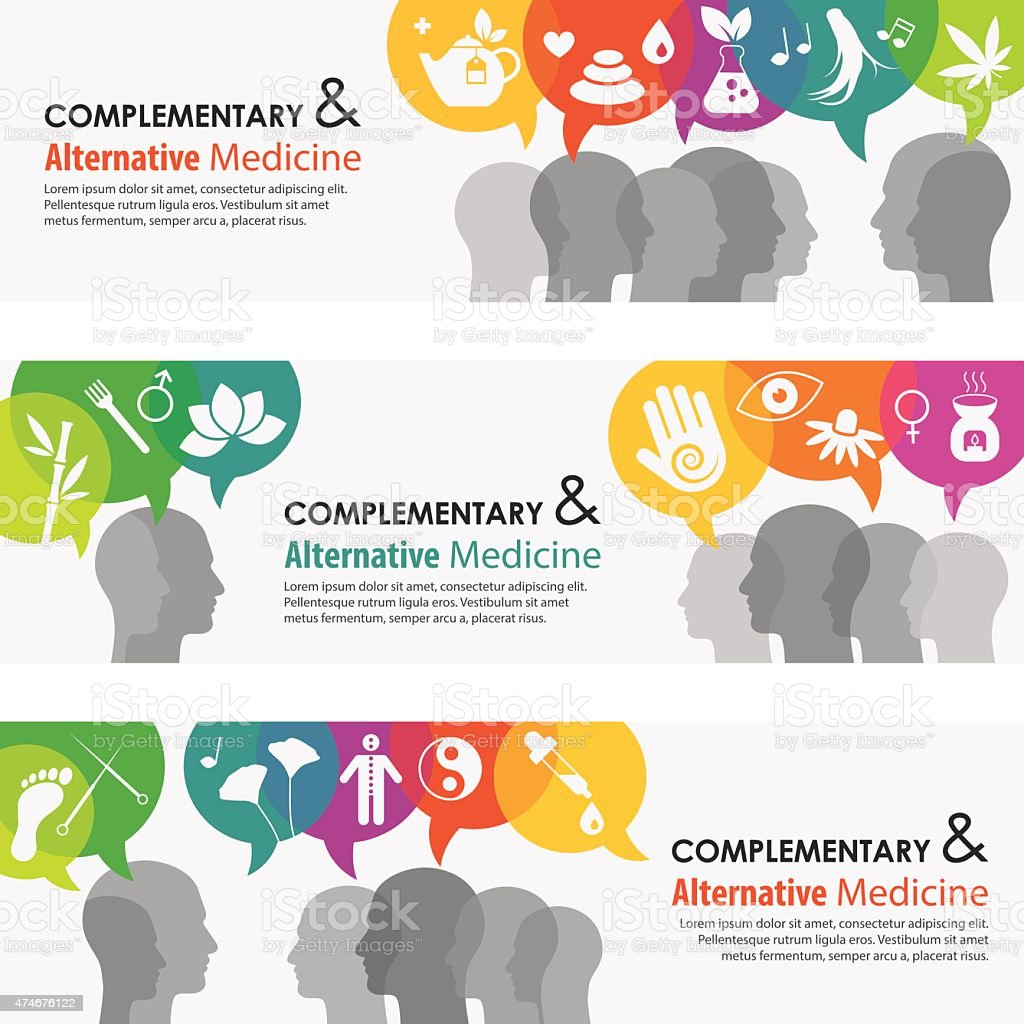 Alternative Medicine Banners And Icon Set vector art illustration